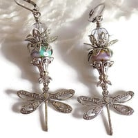 Dragonfly Charm Earrings Dragonfly Earrings Purple Earrings Art Nouveau Earrings Victorian Style  Mother's Day Gift for Her