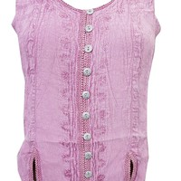 Mogul Interior Womens Peasant Blouse Pink Embroidered Stonewashed Button Front Rayon Tanks Top