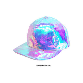 Soap Holographic Hologram Oily Spill Iresdescent Snapback Cap