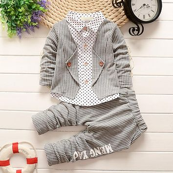 BibiCola  Spring Fashion Baby Boy Clothes Sets Gentleman Suit Toddler Boys Clothing Set Stripe Kids Boy Clothing Set