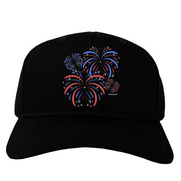 Patriotic Fireworks with Bursting Stars Adult Dark Baseball Cap Hat by TooLoud