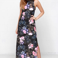 The Fifth Label Adore You Black Tropical Print Maxi Dress
