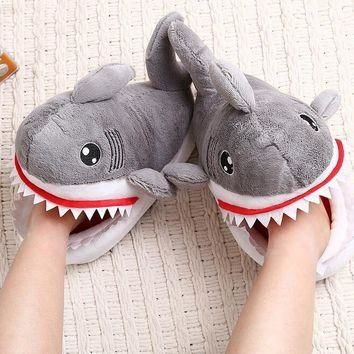 HKSNG Winter Animal Adult Grey Shark Slippers Paw Claw Indoor Floor Home Shoes For Chr