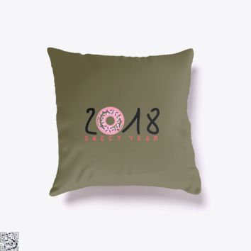 2018 Is Sweet Year, New Year Throw Pillow Cover