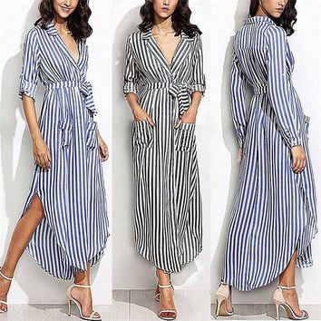 Womens Striped Long Shirt Dress