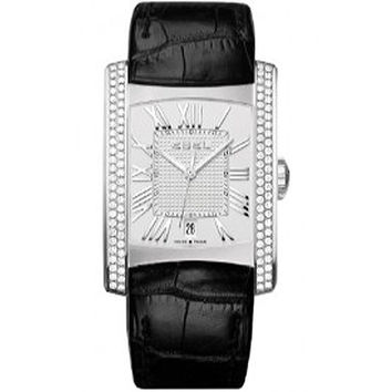 Ebel Brasilia Silver Dial Black Leather Mens Watch 1215720