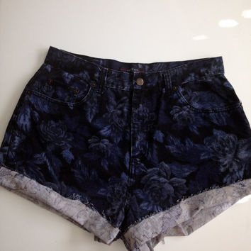 "Reserved for Wic - High Waisted Denim ""Bill Blass""  Floral Jean Shorts Size 12 - 31"" Waist"
