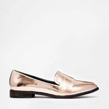 New Look Wide Fit Leavy Rose Gold Metallic Flat Shoes at asos.com