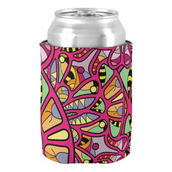 Kaleidoscopic Multicolored Abstract Pattern Can Cooler