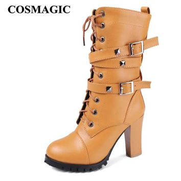 COSMAGIC 2018 New Women Mid Calf Motorcycle Boots Super High Heel Double Buckle Gothic Punk Zipper Lace Up Platforms Botas Mujer