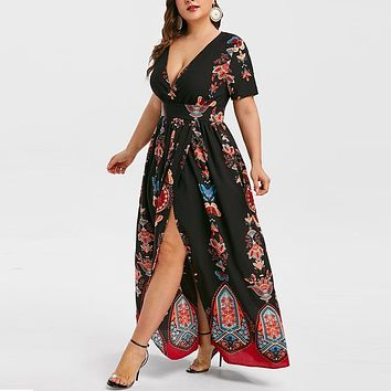 Plus Size Women Summer Long Dress Fashion Butterfly Print V-Neck Short Sleeve Casual Elegant Dresses Woman Party Night G0530#20