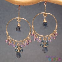 "Hammered hoops wrapped with turquoise, 1-3/4"" Earring Gold Or Silver"