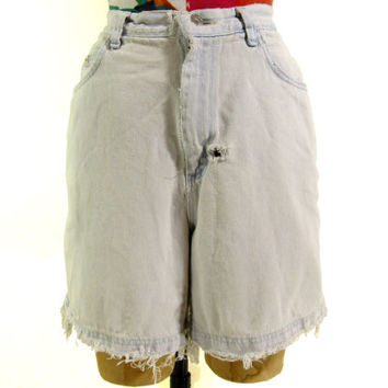 Vintage Whitewashed Denim Cutoff Shorts - Shredded Denim Jean High Waist - Women's Size Medium Large Med Lrg M L - Sale
