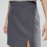 ASOS A-Line Mini Skirt with Split in Check at asos.com