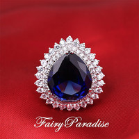15 Ct (10mm * 12 mm) Pear Cut Man Made Blue Sapphire Double Halo Engagement Ring/ Promise Rings, September Birthday Stone (FairyParadise)