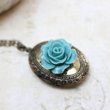 Oval Locket Necklace Antique Gold Brass Blue Rose Vintage Style Photo Locket Pendant Keepsake Jewellery Mementos Secret Hiding Place