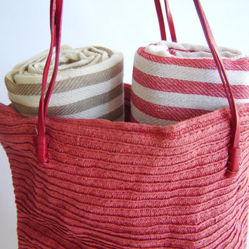 SALE, Turkish Towel, Set of 2 Peshtemal, Bath towel,Hammam, Beach Towel , Fouta Towel, Bath and Body, Spa, wedding gift, Light Brown and Red