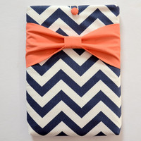 "Macbook Pro 13 Sleeve MAC Macbook 13"" inch Laptop Computer Case Cover Navy & White Chevron with Coral Bow"