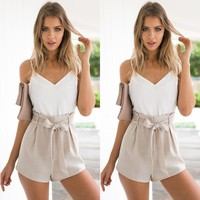 Summer Women's Fashion Spaghetti Strap V-neck Patchwork High Waist Pants Jumpsuit [8098141383]