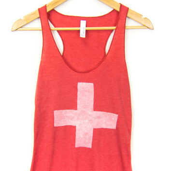 Swiss Cross - Racerback Hand Stenciled Slouchy Scoop Neck Women's Swing Tank Top in Heather Red and White - S M L XL 2XL