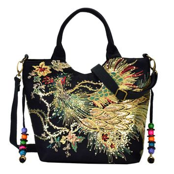 Women's Shoulder Bags - Peacock Embroidery Canvas Shoulder Beach Tote Purse Canvas Handbags Totes Bags