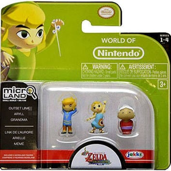 World of Nintendo Micro Land Series 4 Outset Link, Aryll & Grandma 1-Inch Mini Figure 3-Pack