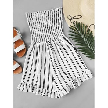 Ruffle Hem Pleated Tube Romper