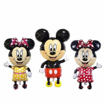 110*64cm Red Bowknot Mickey Minnie Foil Balloons Classic Kids Toys Birthday Party Supplies Big Size Mickey Balloons