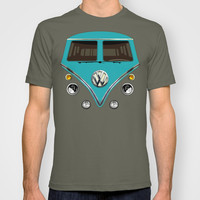 Blue teal VW volkswagen mini van mini bus kombi camper illustration unisex adult, kids and baby tee T-shirt by Three Second