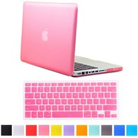 "HDE MacBook Pro 13"" Non-Retina Case Hard Shell Cover Rubberized Soft-Touch Plastic + Keyboard Skin - Fits Model A1278 (Pink)"