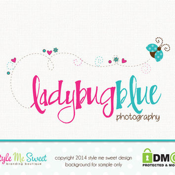 Premade Ladybug Logo Photography Logo Small Business Branding Watermark Design Hand Drawn