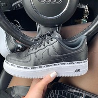 Nike Air Force 1 07 SE AF1 Black and White Men's and Women's Thick Floor Shoes