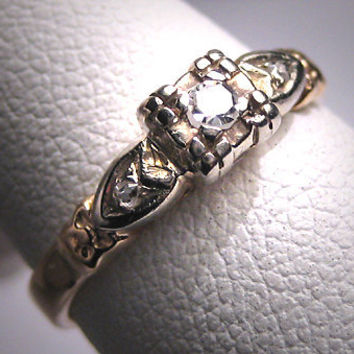 Antique Diamond Wedding Ring Victorian Art Deco Vintage