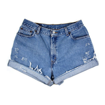 "CUSTOM STUDDED Shorts / High Waist Denim Levis Cut Offs / 32"" Waist / 0046SH"