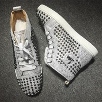 DCCKU62 Cl Christian Louboutin Louis Spikes Style #1870 Sneakers Fashion Shoes