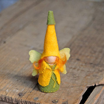 Squash Blossom Fairy - Waldorf Inspired, Yellow and Green