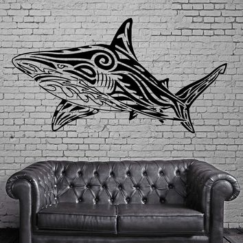 Big White SHARK Marine Sea Ocean Tribal Decor Wall MURAL Vinyl Art Sticker Unique Gift M084