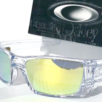 NEW* OAKLEY FUEL CELL Crystal CLEAR w POLARIZED Galaxy FIRE lens Sunglass oo9096