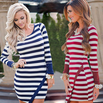 Classic Long Sleeve Scoop Stripe Irregular Short Dress
