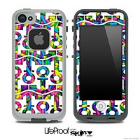 White and Neon Sprinkles Anchor Collage Skin for the iPhone 5 or 4/4s LifeProof Case