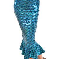 Turquoise Dragon Scale Bodycon Mermaid Wiggle Skirt