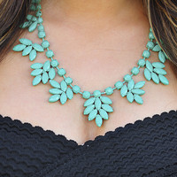 Leaves Of Fall Necklace: Teal