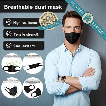 Air Purifying Filter Face Masks with Breathing Valve Mouth Muffle Filter Washable Anti Dust Fog Respirator with 2 Valve + Filter