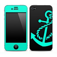 Solid Black and Trendy Green Anchor Skin for the iPhone 3gs, 4/4s, 5, 5s or 5c