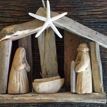 ORIGINAL OBX driftwood tree ornament wood nativity order by Dec 11 creche manger baby Jesus Outer Banks Christmas ornament BeachHouseDreams