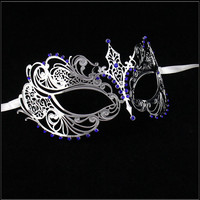 Luxury Mask Women's Laser Cut Metal Venetian Pretty Masquerade Mask Silver Blue Stones