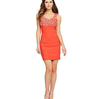Sapphire Dollz Embellished Top Panel Dress - Coral