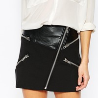 Mango Zip Detail Mini Skirt