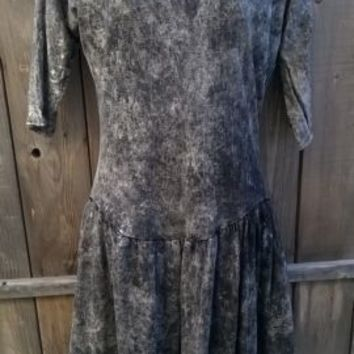 Drop Waist T-Shirt Dress Black Acid Wash 9/10 New Wave SteamPunk Dolman Goth