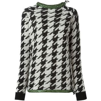 Moncler Grenoble houndstooth drawstring collared sweater